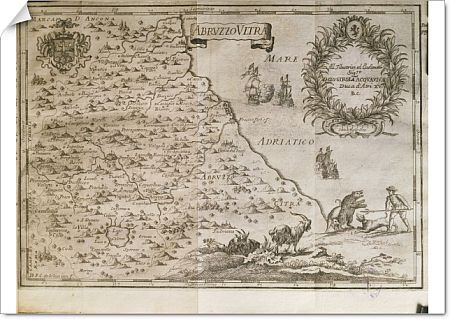 Cartography, Italy, 18th century. Ancient Abruzzo. From The Kingdom of Naples in perspective by Giovan Battista Pacichelli, 1702. Engraving