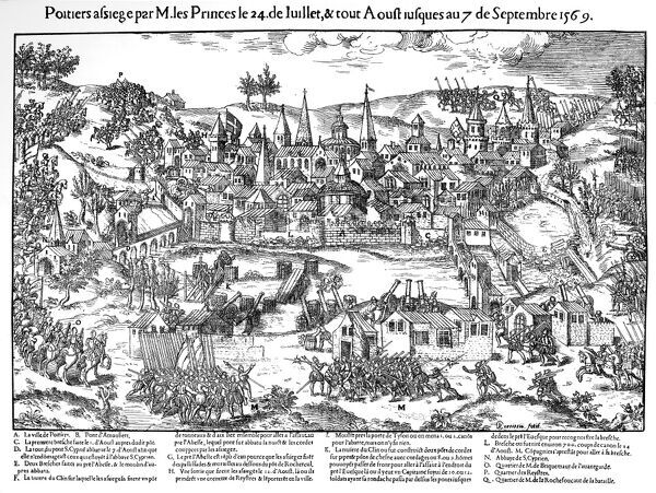 French Religious Wars 1562-1598. Siege of Poitiers 24 July-7 September 1569. Huguenots under Gaspard de Coligny (1519-1572) besieged the city but the defenders held them off with the aid of heavy artillery and a small troop of cavalry, and by flooding meadows