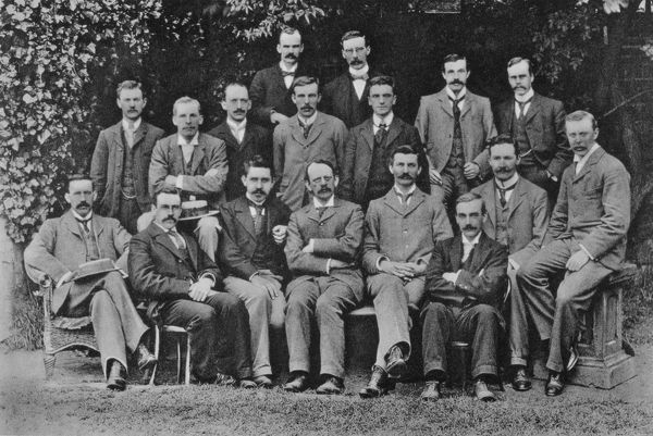 JJ (Joseph John) Thomson (1856-1940) British Nuclear physicist, discovered electron, here with his research students at the Cavendish Laboratory, Cambridge, in 1898. Left to right, back: SW Richardson, J Henry. Middle: EBH Wade