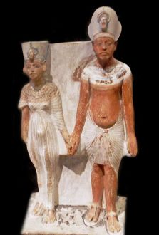 Akhenaten and Nefertiti after 1345 BC. AD (after year 9 of the realm) painted limestone