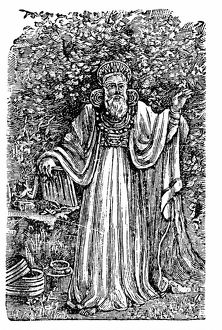 Ancient British Arch-Druid wearing the Breastplate of Judgement. Wood engraving c1900