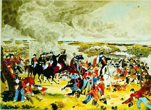 Battle of Waterloo, 18 June 1815. Wellington with his Staff doffing his hat (to Blucher)