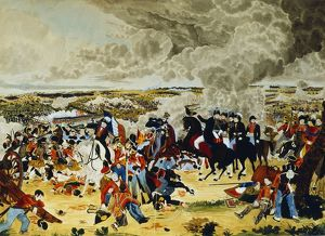 Battle of Waterloo 18 June 1815. Wellington with his Staff doffing his hat (to Blucherja)