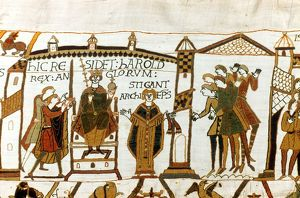 Bayeux Tapestry 1067. Harold II crowned King of England, 6 January 1066. Harold enthroned