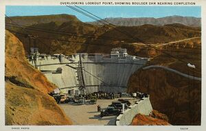 Boulder Dam Nearing Completion. ca. 1935, Border of Nevada and Arizona, USA, OVERLOOKING