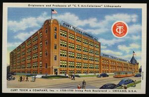 Building of Curt Teich and Company. ca. 1934, Chicago, Illinois, USA, Thank you for