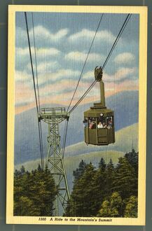 Cannon Mountain Tramway. ca. 1938, New Hampshire, USA, 1560. A Ride to the Mountain's Summit