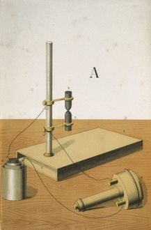 Carbon microphone, invented in 1878 by David Edward Hughes (1831-1900), English inventor