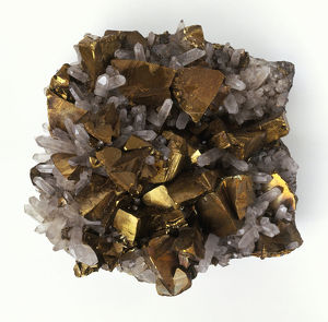 Chalcopyrite and quartz crystals, close-up