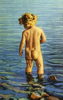 Child Standing in Water. ca. 1936, Minnesota, USA, A BATHER IN MINNESOTA'S SKY