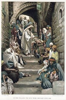 Christ healing the sick brought to him in the villages. Bible: Mark 6. From JJ Tissot