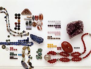 Collection of semi-precious minerals including amethyst, carnelian and lapis lazuli