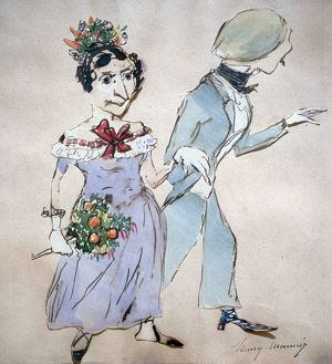 Couple with a Bouquet'. Watercolour by Henri Monnier (1805-1877) French cartoonist