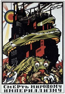 Death to the World Imperialist Monster', 1919. Soviet propaganda poster by Dmitry Moor