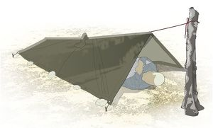 Digital composite illustration of man lying below quick shelter constructed of poncho