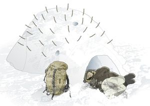 Digital composite illustration of man lying on side and sleeping at entrance to dome-shaped