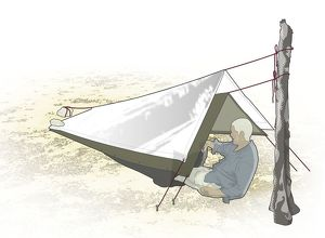 Digital composite illustration of man sitting below quick shelter constructed of poncho
