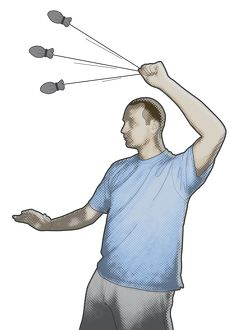 Digital composite illustration of man swinging a bola above head