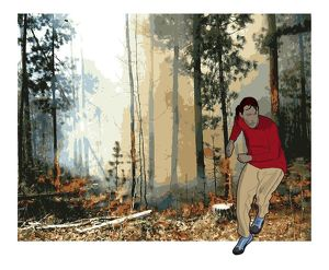 Digital composite of man running away from forest fire