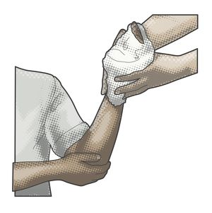 Digital illustration of casualty supporting elbow as pair of hands hold padded bandage