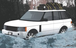 Digital illustration of crossing water in four-wheel-drive vehicle