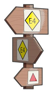 Digital illustration of directional signpost used by hikers