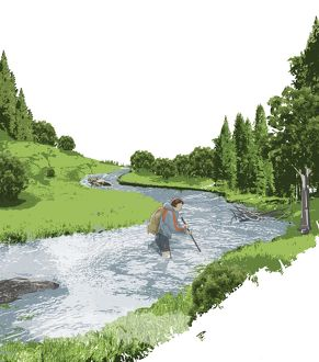 Digital illustration of female hiker safely crossing fast-flowing river using walking