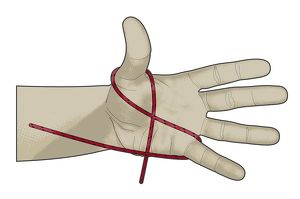 Digital illustration of hank cordage looped in figure of eight around thumb and little