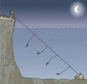 Digital illustration of four hook lines attached to fishing line weighted down by
