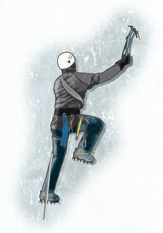 Digital illustration of ice climber using ice axe to pull himself up and crampons