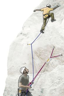Digital illustration of lead climber attached to rope on rock face with man standing