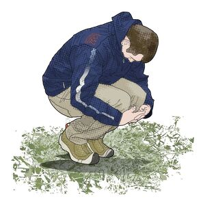 Digital illustration of man crouching on ground looking down and holding knees