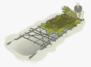 Digital illustration of man making a driftwood shelter and covering with branches