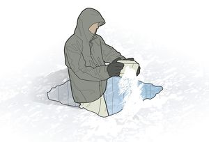 Digital illustration of man standing in fighter trench emptying snow from mess tin