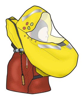 Digital illustration of man wearing hooded lifejacket and survival suit