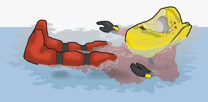 Digital illustration of man wearing survival suit and life jacket in sea
