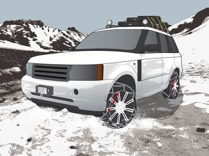Digital illustration of tyre chains attached to wheels of four-wheel-drive vehicle on ice