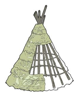Digital illustration of wickiup constructed of cluster of straight poles with partially