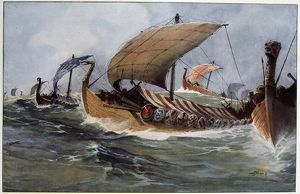 Drakkar. Viking longships under sail. Watercolour by Albert Sebille (1874-1953)