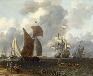 Dutch Warship in a Calm Sea' Artist, Abrham Storck (c1635-1704). Oil on wood
