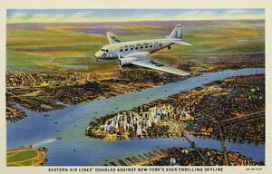 Eastern Airlines Plane Above New York. ca