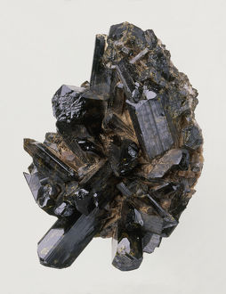 Epidote crystals in rock groundmass, close-up