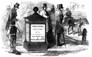 One of the first letter boxes erected in London at the corner of Fleet Street