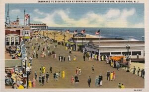 Fishing Pier at Boardwalk and First Avenue. ca. 1934, Asbury Park, New Jersey, USA