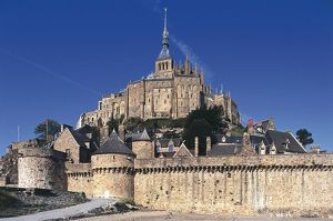 France, Normandy, Mont Saint-Michel, fortified abbey and ramparts