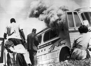 underwood archives/united states/freedom riders bus burned