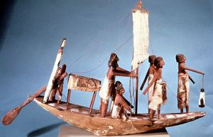 Funerary boat of painted wood. Length 8cm. Ancient Egypt Dynasty IX (2232-2140 BC)