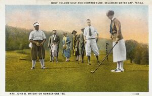Golfer Teeing Off at the First Hole. ca. 1925, Pennsylvania, USA, WOLF HOLLOW GOLF AND COUNTRY CLUB
