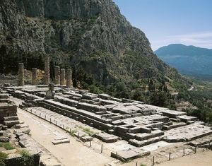 Greece, Delphi, archaeological site, Ruins of Temple of Apollo