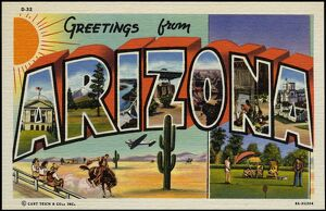 Greeting Card from Arizona. ca. 1939, Arizona, USA, KEY TO LETTERS: A-State Capitol